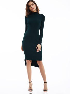 Ericdress Plain Turtleneck Pullover Sweater Dress