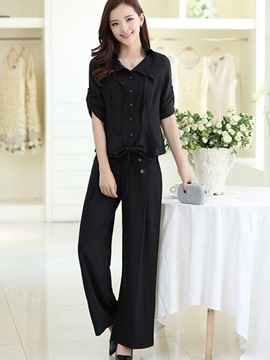 Ericdress Solid Color Single-Breasted Lace-Up Pants Suit