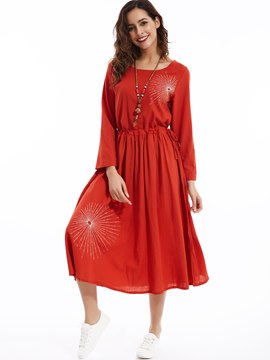Ericdress Mori Girl Embroidery Round Neck Pleated Maxi Dress