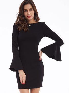 Ericdress Ruffle Sleeves Backless Bodycon Dress