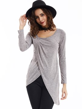 Ericdress Slim Plain Asymmetric Lap T-shirt