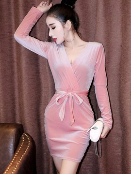 Ericdress Cross V-Neck Pleated Lace -Up Sexy & Clubwear Dress