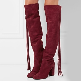 Ericdress Tassel Chunky Heel Over-the-Knee Boots