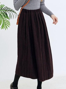 Ericdress Vintage Pleated High-Waist Maxi Skirt