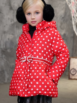 Ericdress Simple Belt-Tied Polka Dot Girl's Coat