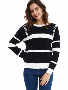 Ericdress Casual Round Neck Striped Color Block Knitwear