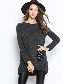 Ericdress Solid Color Patchwork Loose Knitwear
