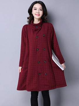 Ericdress Loose Double-Breasted Stand Collar Casual Trench Coat