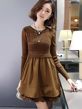 Ericdress Knitting Weave Lace Patchwork Pleated Casual Dress