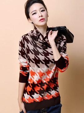 Ericdress Heap Neck Houndstooth Knitwear
