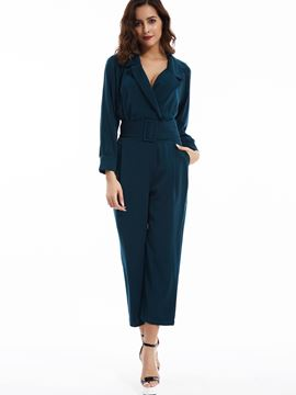 Ericdress Plain Notched Lapel Wide Legs Jumpsuits Pants