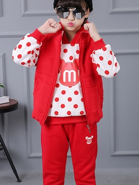 Ericdress Polka Dots Hoodie Vest Pants 3-Pcs Girls Outfit