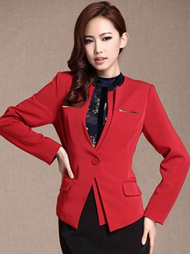Ericdress Solid Color Slim V-Neck Blazer