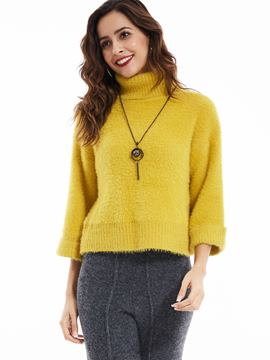 Ericdress Plain Pullover Turtleneck Knitwear