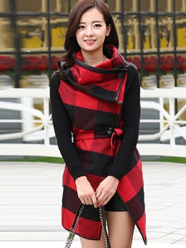 Ericdress Color Block Plaid Patchwork Trench Coat