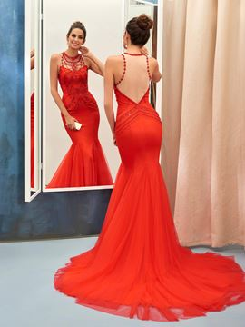 Ericdress Beaded Jewel Neck Sheer Back Court Train Mermaid Evening Dress