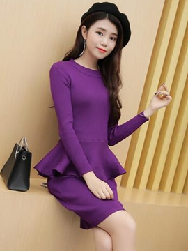 Ericdress Solid Color Falbala Sweater Bodycon Suit