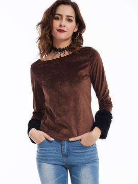 Ericdress Slim Slash Neck Plain T-shirt