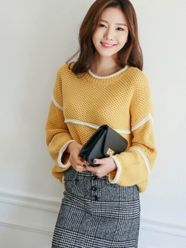 Ericdress White Line Round Neck Knitwear