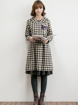 Ericdress Peter Pan Collar Plaid Lace Patchwork Pleated Casual Dress