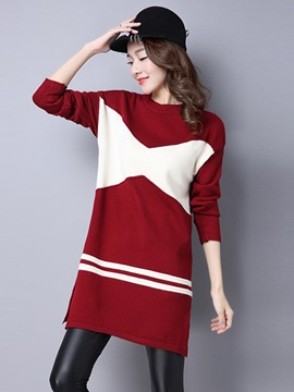Ericdress Color Block Patchwork Split Round Collar Casual Dress