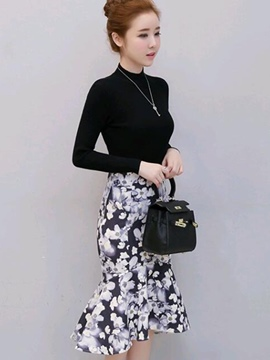 Ericdress Turtleneck Sweater Asymmetric Floral Skirt Suit