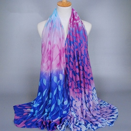 Ericdress Colorful Leaves Printed Voile Scarf