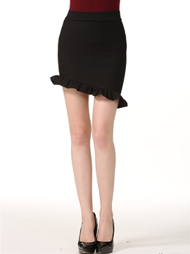 Ericdress Asymmetric Falbala High-Waist Mini Skirt