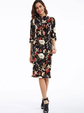 Ericdress Stand Collar Flower Printed Single-Breasted Pocket Bodycon Dress