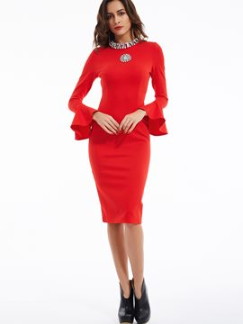 Ericdress Ruffle Sleeves Diamonds Decorated Sheath Dress