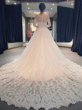Ericdress Amazing Illusion Neckline Appliques Long Sleeves Wedding Dress