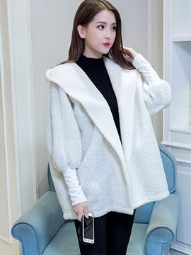 Ericdress Solid Color Loose Fleece Jacket