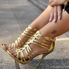 Ericdress Golden Cut Out Strappy Stiletto Sandals