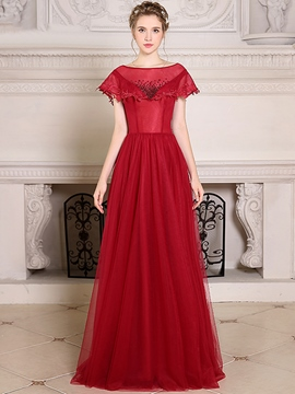 Ericdress A Line Boat Neck Beaded Floor Length Evening Dress