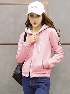 Ericdress Casual Loose Solid Color Zipper Cool Hoodie
