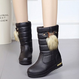Ericdress Eurameric PU Middle Cut Snow Boots
