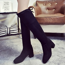 Ericdress Chic Suede Square-toe Over The Knee Boots