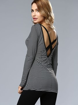 Ericdress Stripe Backless Sexy T-Shirt