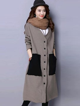 Ericdress Loose Color Block V-Neck Trench Coat