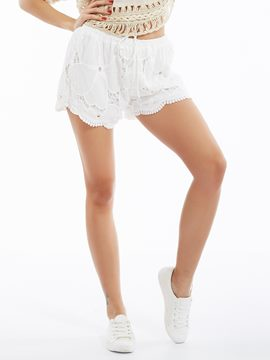 Ericdress Slim Lace-Up Hollow Shorts