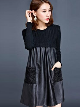 Ericdress Fabric Lace Patchwork Pleated Pocket Loose Casual Dress