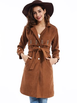 Ericdress Casual Notched Lapel Single-Breasted Coat