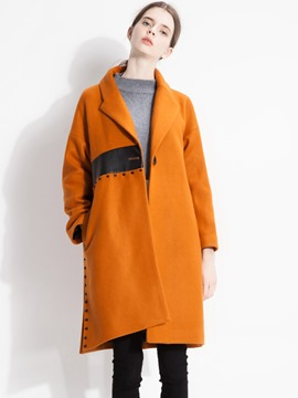 Ericdress Straight One-Button Color Block Coat