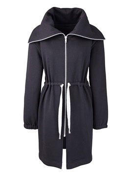 Ericdress Straight Turn-Down Zipper Hoodie