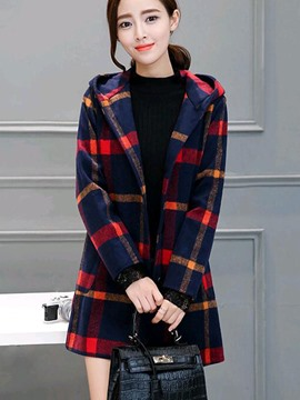 Ericdress Plaid Slim Color Block Hooded Coat