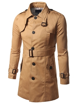 Ericdress Plain with Belt Mid-Length Vogue Slim Men's Trench Coat