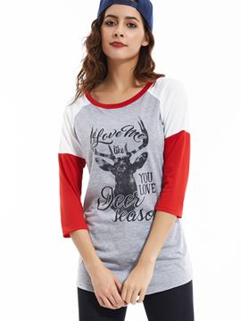 Ericdress Deer Print Three-Quarter T-Shirt