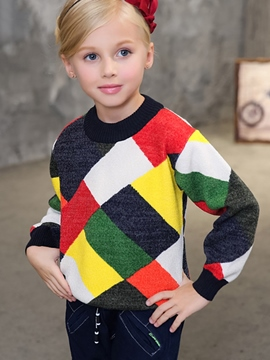 Ericdress Plaid Color Block Round Neck Girls Warm Sweater