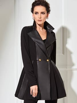 Ericdress Slim PU Patchwork Elegant Coat