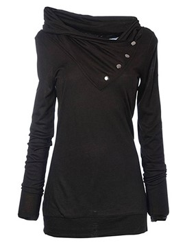 Ericdress Casual Solid Color Asymmetric Heap Hoodie